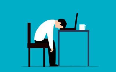 employee, desk, stress
